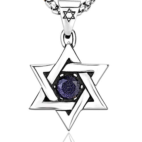 Price comparison product image JAJAFOOK Men's Titanium Stainless Steel Jewish Star of David Matte Finishing in Brushed Texture Diamond Blue Pendant
