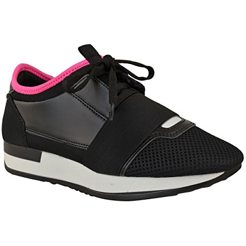 Fashion Thirsty Womens Girls Lace Up Sneakers Stretch Band Walking Gym Shoes Size Black Faux Leather