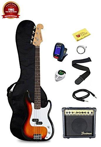 Stedman Pro Beginner Series Bass Guitar Bundle with 15-Watt Amp, Gig Bag, Instrument Cable, Strap, Picks, and Polishing Cloth - Sunburst