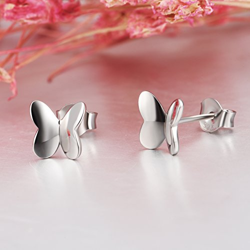 Small Butterfly Earrings Sterling Silver High Polished Cute Butterfly Jewelry for Women Girls by LUHE (Image #4)