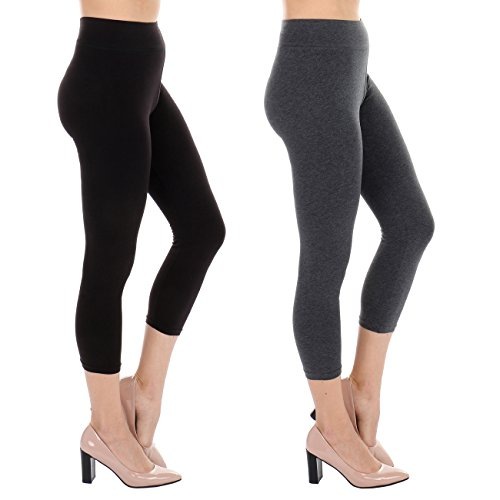 TODAY SHOWROOM Best Selling Cotton Capri- Non See Thru Fabric-Yoga Waist Cropped Leggings (2pk (Black/Charcoal), (Ankle Cropped)