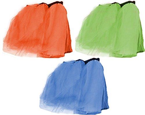 [Economy Dance Studio Neon Assorted Color Tutu Skirt 3 Pack Costume Accessory] (Dance Dress Costumes Studio)