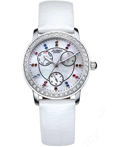 Gemstone Bezel Leather Strap Watch - 5