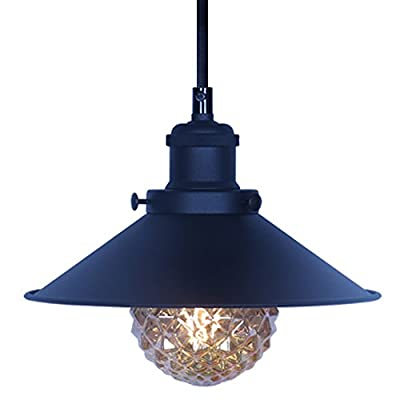 XIDING Premium Vintage Industrial Edison Style Pendant Light Fixture?Retro Upgrade Black Finish Metal Shade Hanging Light, E26 Base?Adjustable Wire?1-Light
