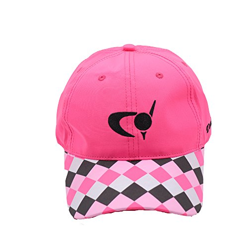 Teeoff Golf Cap Checkers Printed Embroidered Adjustable Baseball Hat for Men Women (Pink)