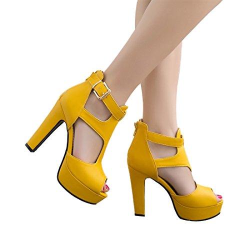 MORNISN Women's peep Toe Platform high Heel Sandals Buckle T-Strap Pumps Wedding Party Shoes Yellow