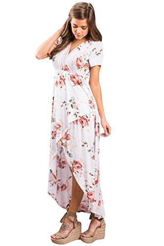 Floreale Manica Corta Chic A Stampa Scollo V Sexy Vestito Bordo Baronhong Bianco Maxi Irregolare dXxwqnYXf7