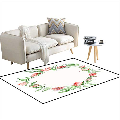 Girls Bedroom Rug Watercolor Crest Romantic Frame wi Flowers Cartemplate 36