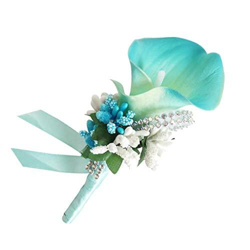 - SM SunniMix Wedding Prom Corsage Ceremony Flower Brooch Wedding Boutonnieres Groom Groomsmen Flowers Boutonniere - Sky Blue
