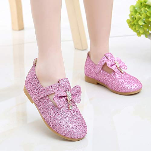 Mysky Kids Baby Girls Sweet Crystal Pendant Bowknot Sequins Party Princess Shoes Pink by Mysky (Image #2)