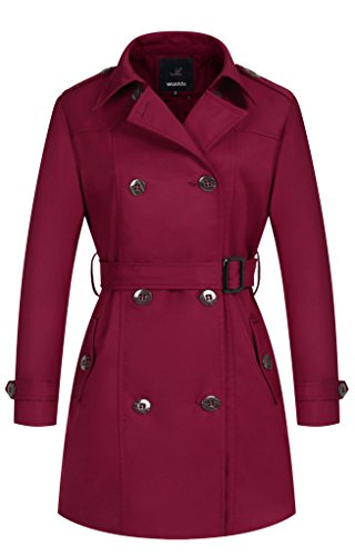 Wantdo Women's Double-Breasted Trench Coat with Belt XX-Large wine Red