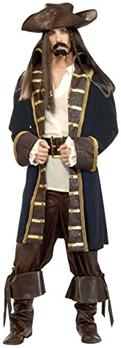 High Seas Pirate Costumes (Forum Designer Deluxe High Seas Pirate Costume, Black/Brown, Large)