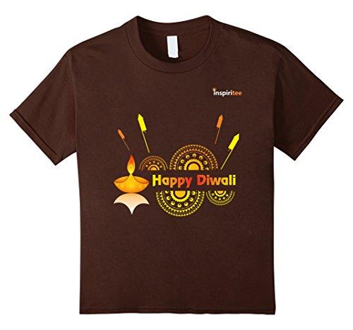 Kids Inspiritee - Happy Diwali - T Shirt 3 12 Brown by Inspiritee