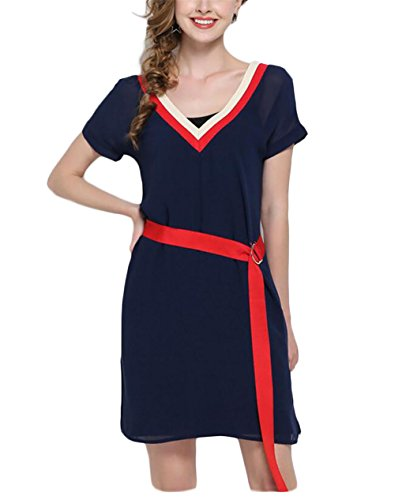 Alion Women Fashional Leisure Slim Fitted V Collar Colorblock Two Piece Dress Blue S - Colorblock 2 Piece Dress