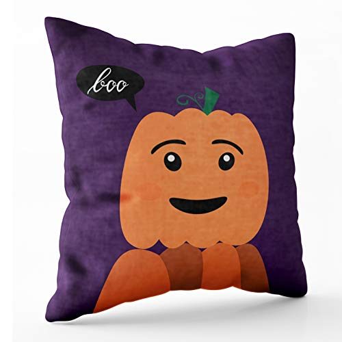 Crannel Zip Pillow Case Double-Sided Printing Pillowcase 20X20 Inch Throwing Cushion Halloween Pumpkin Inscription Boo Poster Pumpkin Invisible Zipper Square Decorative Home -