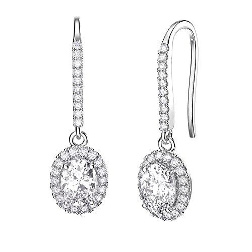 Eternity Argent Sterling Diamant Or Blanc Boucles d'oreilles (ovale)