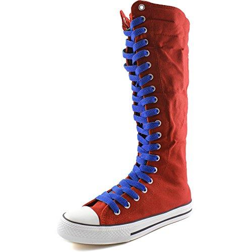 Dailyshoes Tela Donna Stivali Alti Metà Polpaccio Casual Sneaker Punk Flat, Stivali Blu Royal Blue, Pizzo Blu Royal