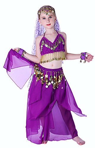 Seawhisper Belly Dancer Girls Costume Halloween Costumes for Kids Purple 14 16 - Dancer Halloween Costumes