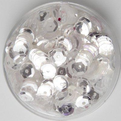 BarFeer 25G 6Mm Brilliant Color Sequins Cup Round Paillette Artesanatos Acessorios Transparent Crystal White