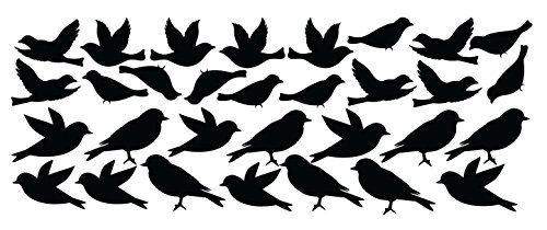 Innovative Stencils Bird Wall Decal Stickers Peel and Stick Decor Flying and Sitting Removable and Reusable Vinyl Wall Art Decor Addon for Large Tree Decals #1387 (Small, Matte Black)