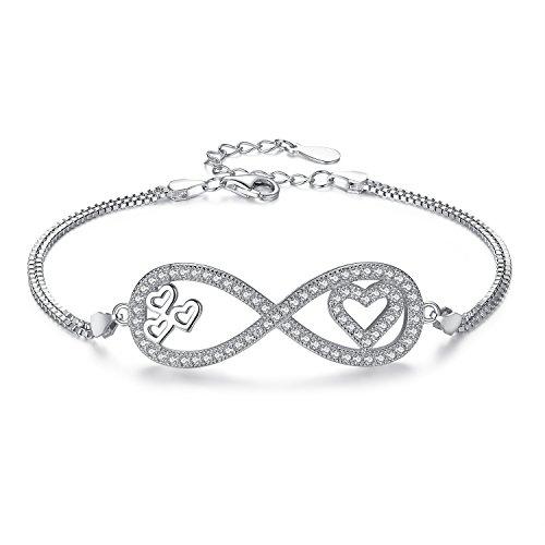 Ever Faith - Amour Infini - Bracelet Chaîne Argent 925 Zircone Durable Symbole 8 Cœur Clair N07405-1