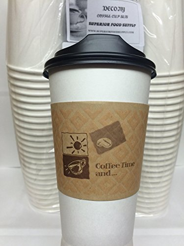 20 Oz. White Hot Coffee Cup With Lid And Sleeve Decony Coffee Sets- 50 sets