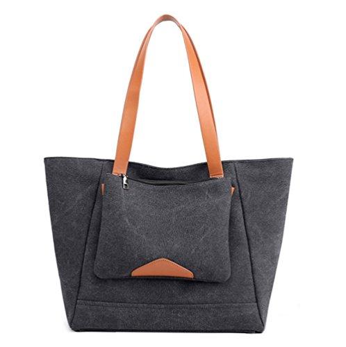 Casual Purse Women's Canvas Bag Everyday Black Hobo dwtPt1x