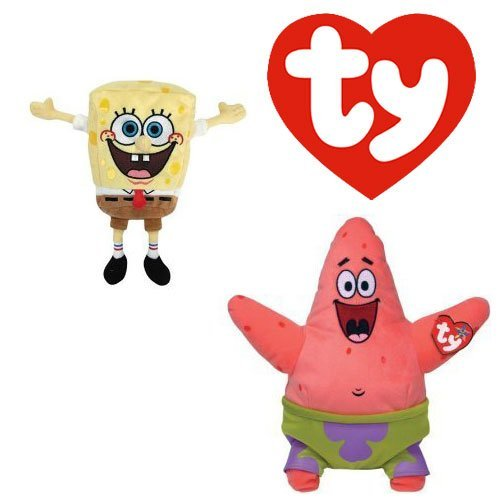 TY Beanie Babies Sponge Bob Square Pants and Patrick Star Best Day Ever, Set of 2 (Spongebob Star Patrick Squarepants)
