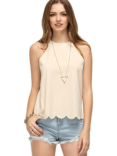 Romwe Womens Halter Cute Tank Scallop Hem Top Apricot L=US M (Tank Cute Women Tops)