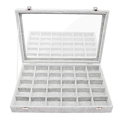 INVIKTUS Velvet Glass Jewelry Display Cases Ring Earring Organizer Holder Tray Jewelry Box for Women 30 Grid