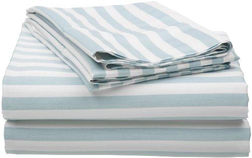 Cotton Blend 600 Thread Count, Deep Pocket, Soft, Wrinkle Resistant 4-Piece King Bed Sheet Set, Cabana Stripe Light Blue - Luxury Cabana Sheet Sets