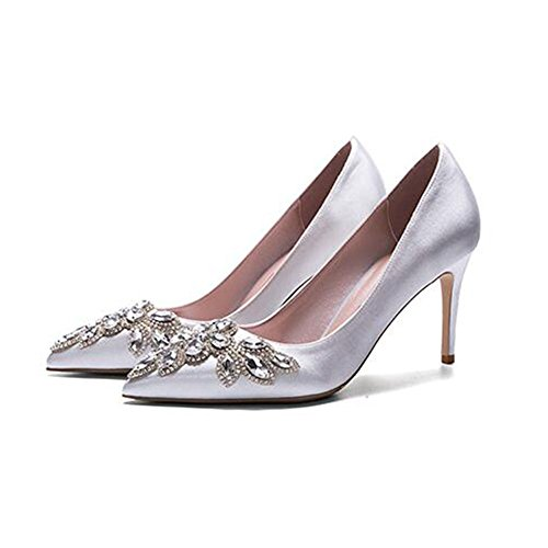 la Strass Main Peu Chaussures Sunny Talons PU Femme Mariage Amende 6 Hauts Soie 8cm F338 la Profonde Bouche Incrusté Pointu à Talon Argent wwq6v