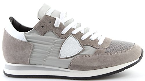 Philippe Model Scarpe Sneakers Uomo Paris Tropez Basic Gris Blanc Made in Italy
