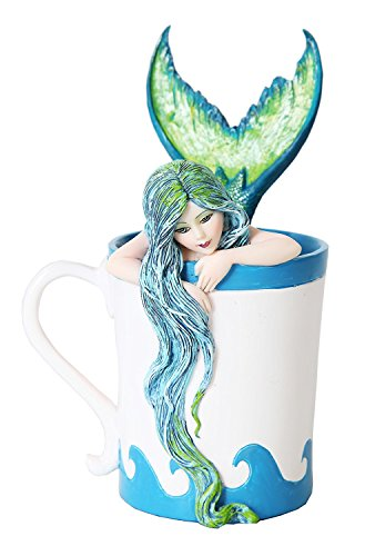PTC 5.25 Inch Morning Bliss Mermaid in Coffee Cup Statue Figurine (Statues Small Mermaid)