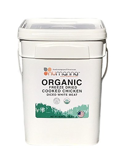 NuManna Organic Freeze Dried Cooked Chicken Diced White Meat - Bucket of 66 Servings, Emergency Survival Food Storage Kit, Separate Rations, in a Bucket, 10 Plus Year Shelf Life, GMO-Free ()