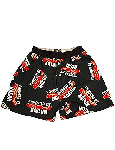 Fun Boxers - Mens Powered By Bacon Boxer Shorts, Black 34424-Large
