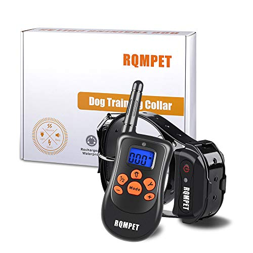 RQM Premium Grade Dog Training Collar (1000 Foot Range & 100% Waterproof) Completely Rechargeable Remote and Collar - 3 Different Modes (Light Shock, Vibrate, or Tone) - Fits Large & Small Dogs