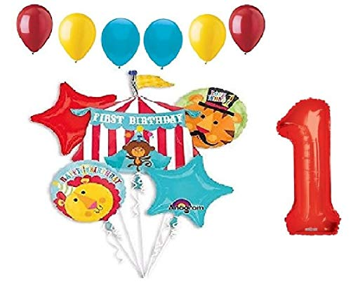 DalvayDelights 1st First Birthday Party #1 Red Circus Monkey Lion Tiger Tent 12 Piece Mylar and Latex Balloons -