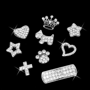 Purely Charming Pet Collar Personalizable Slide-on Charm with Handset Swarovski Crystals - Charm (Choice of Heart, Star, Crown, Paw, Puppy or Cross)