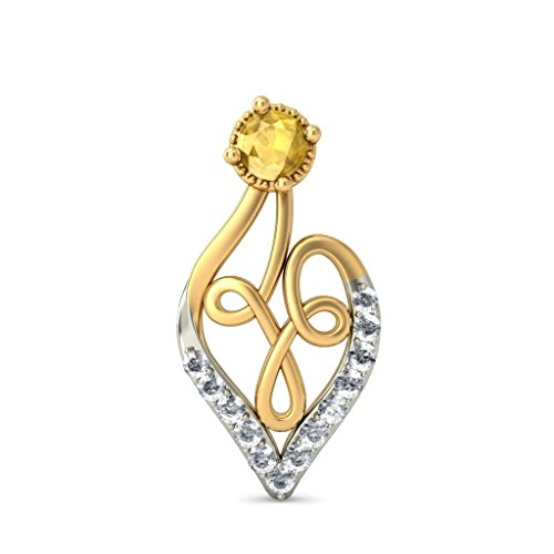 Or jaune 18 K 0,2 CT TW White-diamond (IJ | SI) et citrine Boucles d'oreille à tige