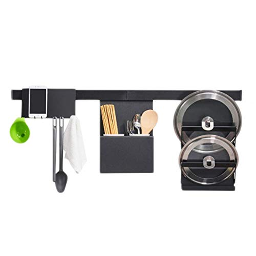 Mounted Pot Rack Aluminum Table - Tableware Storage Rack Dish Drainer Rack Holder Or Kitchen Home Multi-function Kitchen Rack Aluminum Drain Black Hook Tray Chopsticks Spoon Pot Wall-mounted Storage Household Free Punch Cutlery Tablew