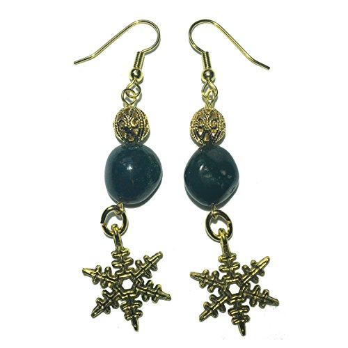 Bloodstone Earrings 29 Snowflake Gold Dangle