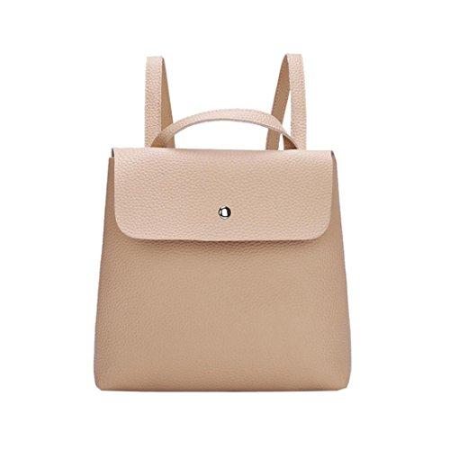 - Sumen Backpack Women Girl Pure Color Leather Mini School Bag Soft Square Shoulder Bag (Khaki)