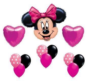 Minnie Mouse Pink Polka Dot Heart Mylar Latex Birthday Balloon Set ()