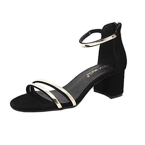 H&W Womens Suede Leather Mid Heel 5CM Rubber Soles Sandals Shoes for Summer Black 8LWiL7d4zC