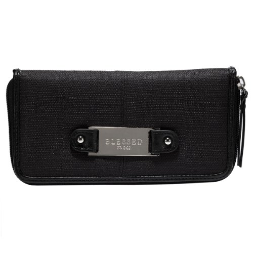 """Black Linen Look Zippered Clutch Wallet Ensemble w/""""Blessed"""" Badge"""