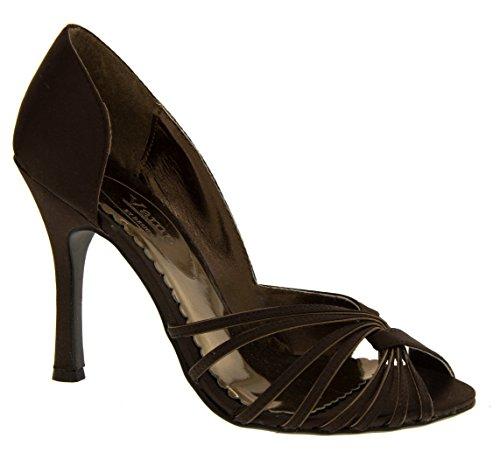 Vamp L2738 Mujer Negro Satén Punta Abierta Zapatos Tacón Alto Sandalias Del Partido EU 37 HWysXE4AN