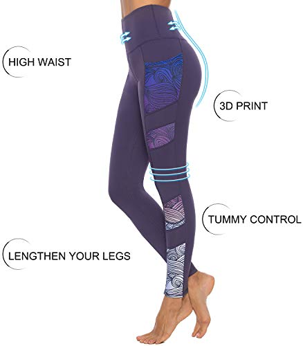 Persit Women's Printed Yoga Pants with 2 Pockets, High Waist Non See-Through Tummy Control 4 Way Stretch Leggings 3