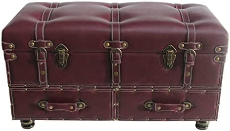 32 Wide Faux Leather Trunk-Burgundy