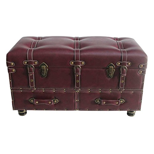 32'' Wide Faux Leather Trunk-Burgundy by River of Goods
